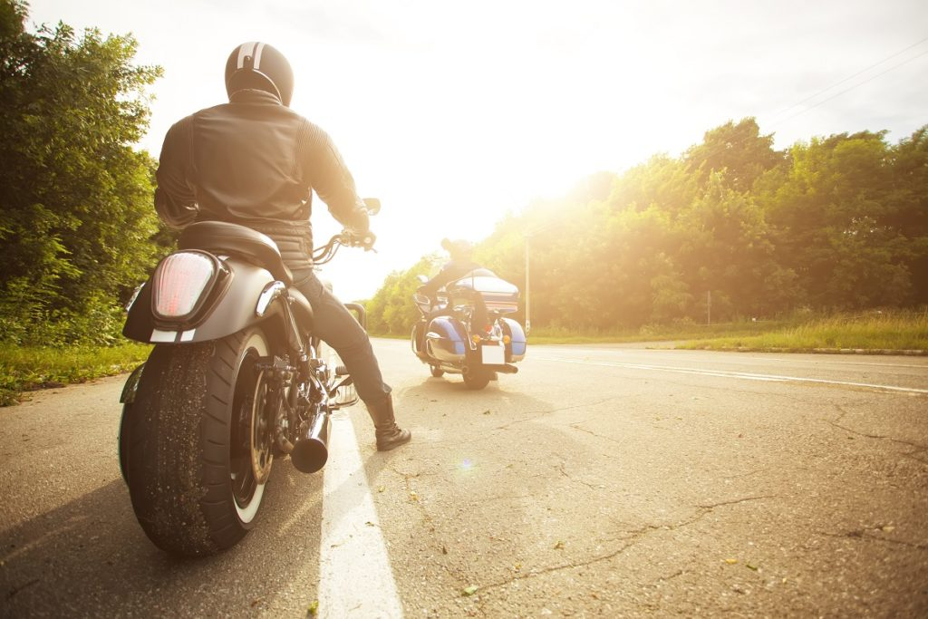 Motorcycle riders road tripping