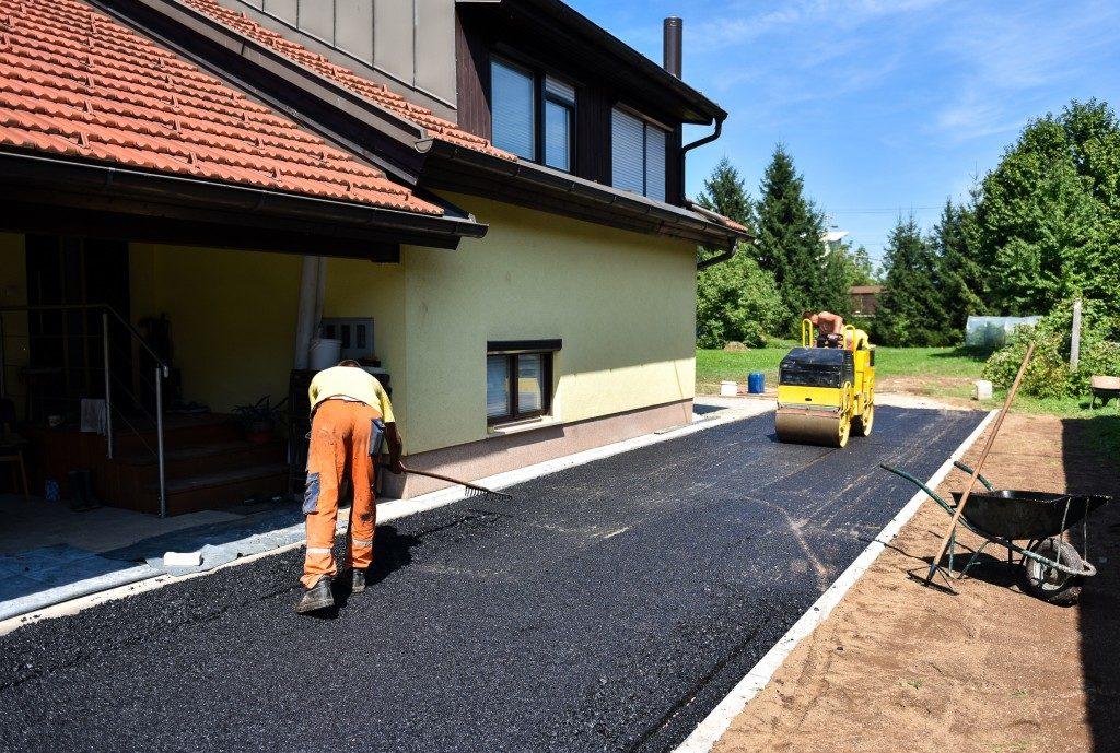 workers making asphalt road