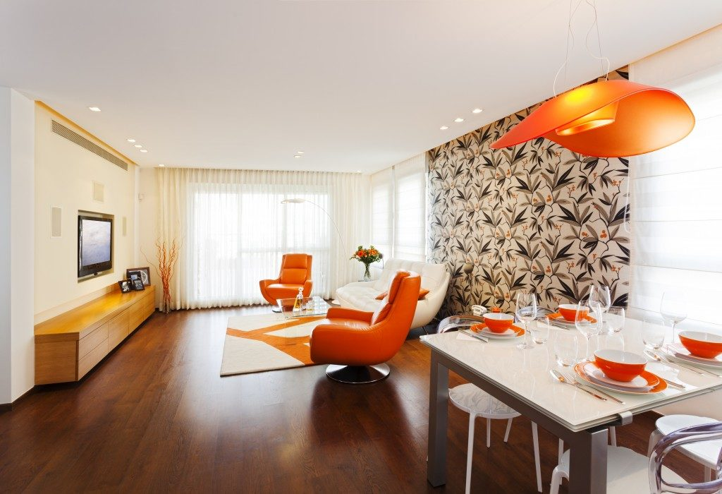 orange themed living room