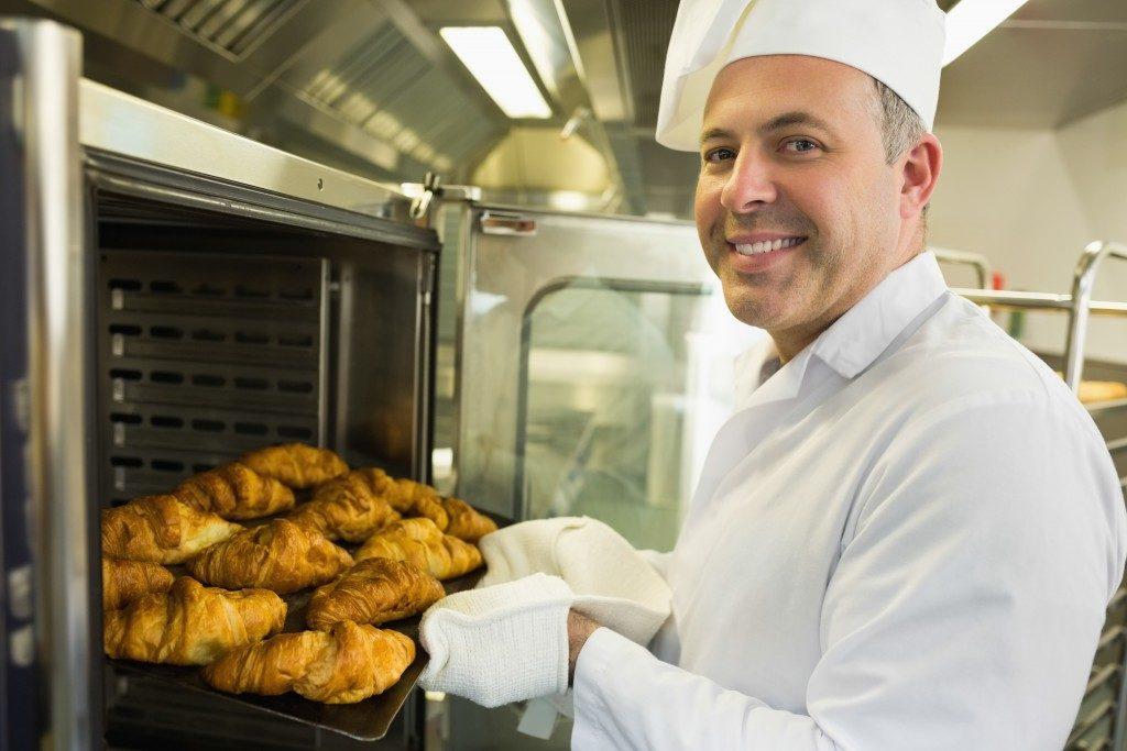 chef baking bread