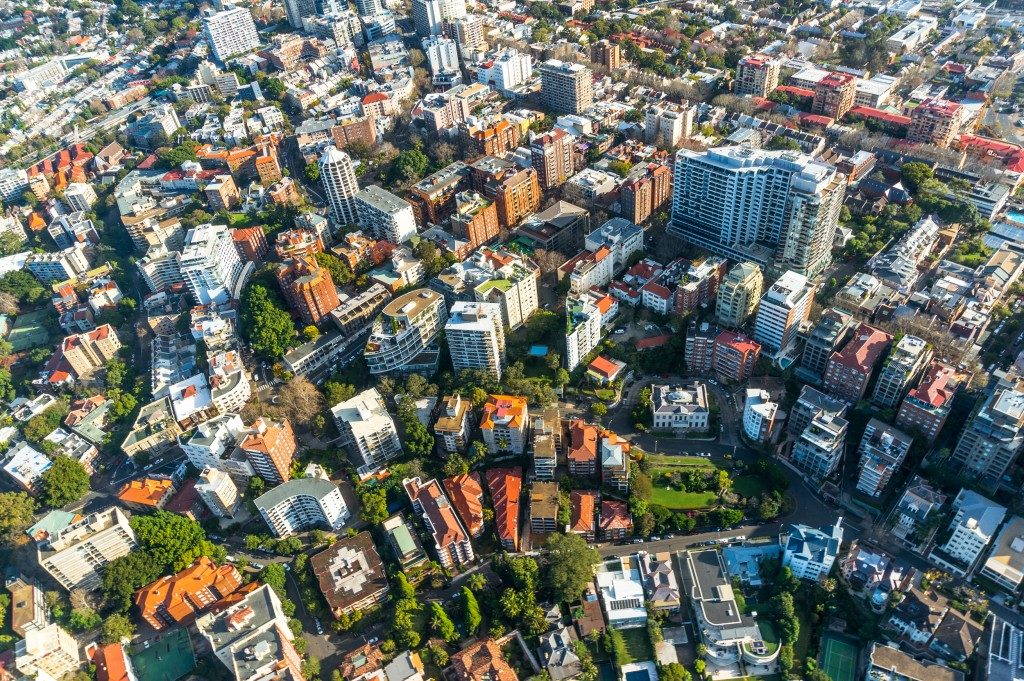 City neighbourhood, suburb in the summer aerial shot