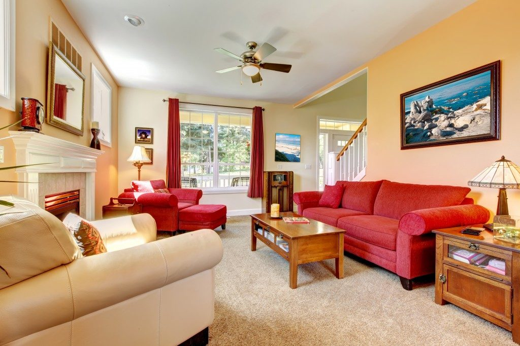 Living room with different types of couch