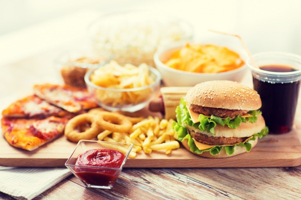 Fast food served in wooden tray