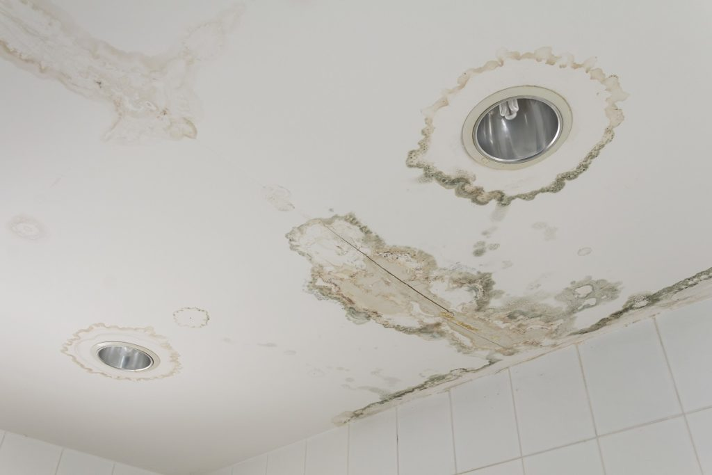 water damage on the ceiling